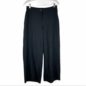 Eileen Fisher Wide Leg Cropped Pant Black Crepe